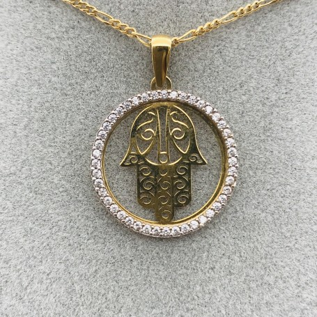 18k gold pendant with the Hand of Fatima and Zircons