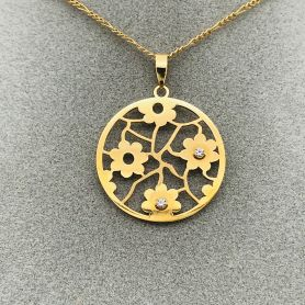 18k Gold Pendant with Floral Ornaments and Zircons