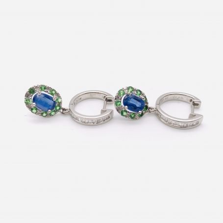 18k White Gold Earrings with Sapphires, Diamonds and Emeralds