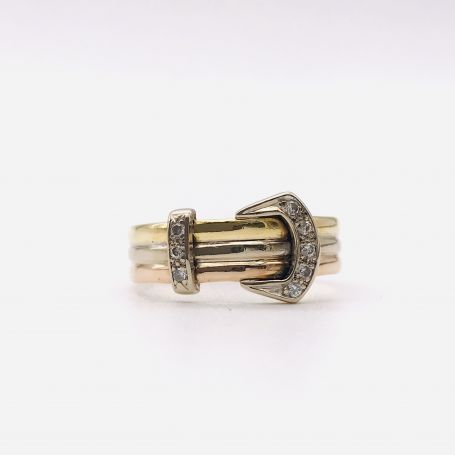 18k Yellow, White and Rose Gold Ring with Diamonds