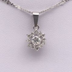 18k White Gold Pendant with Floral Diamond Shape