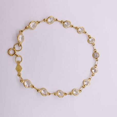 18k Gold Bracelet with Zircons