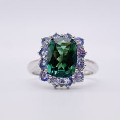 18k White Gold Ring with a Sea Green Tourmaline and Tanzanites