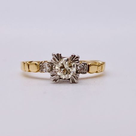 18k White Gold and Gold Ring with 3 Diamonds