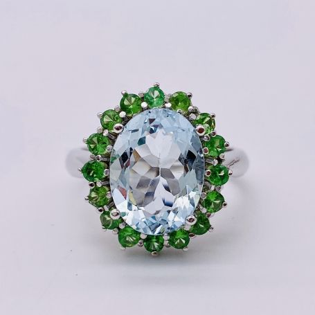 18k White Gold Ring with an Aquamarine And Surrounded by Tsaborites