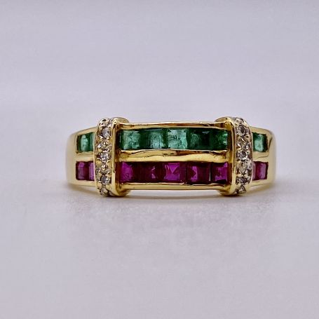 18k Gold Ring with Emeralds, Rubies and Diamonds