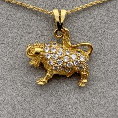 18k Gold Pendant with Bull Shape