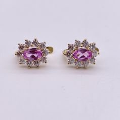 18k Gold Earrings with Morganites and Zircons