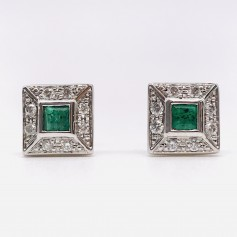 18k White Gold Earrings with Emeralds and Diamonds