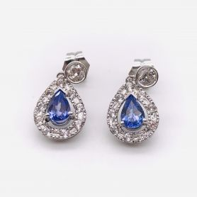 18k White Gold Earrings with Sapphires and Diamonds