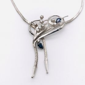 18k White Gold Necklace with Sapphires and Diamonds